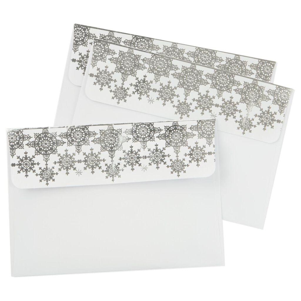 silver snowflake foil designed envelopes pack of 8 designed