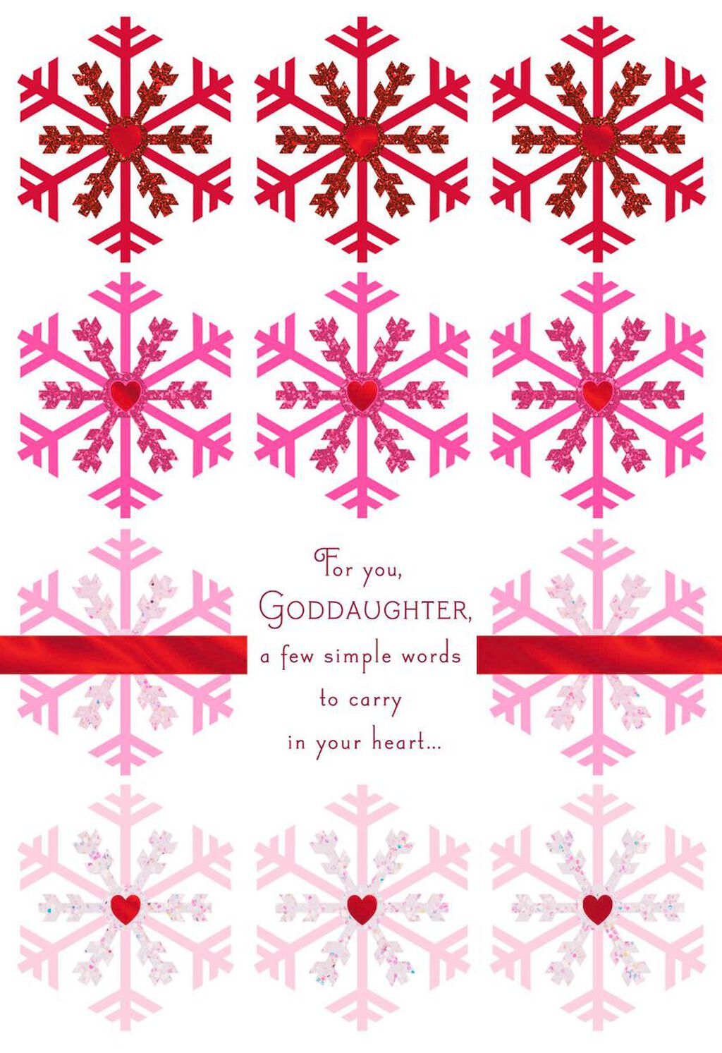 snowflakes of love christmas card for goddaughter greeting cards hallmark