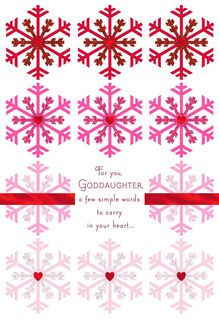 Snowflakes of Love Christmas Card for Goddaughter,