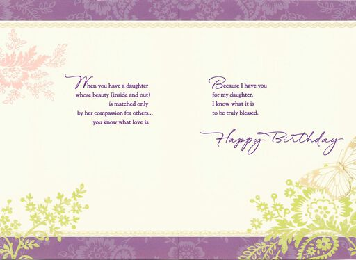Gold Butterfly You Are A Blessing Birthday Card For Daughter