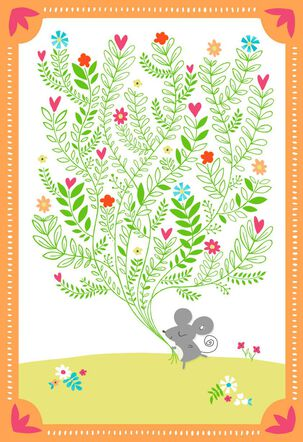 Mouse With Bouquet Blank Thank You Card
