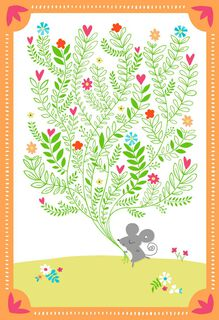 Mouse With Bouquet Blank Thank You Card,