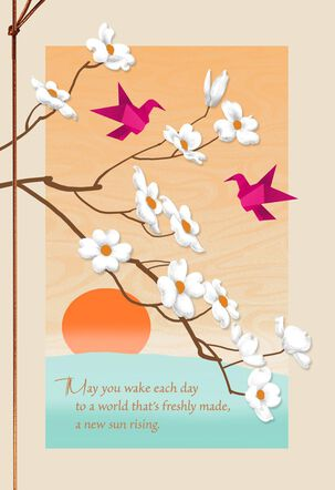 Origami Birds and Plum Blossoms Wedding Card