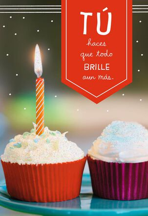 Hope it Glows Cupcake With Candle Spanish-Language Birthday Card