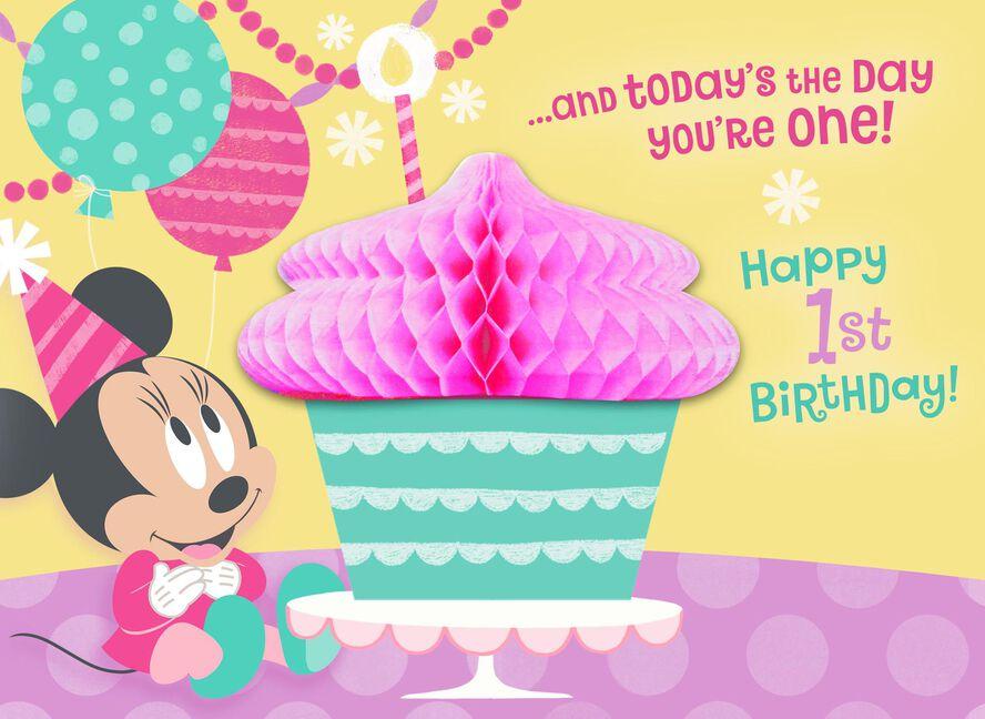 Disney Minnie Mouse Honeycomb Pop Up 1st Birthday Card Greeting