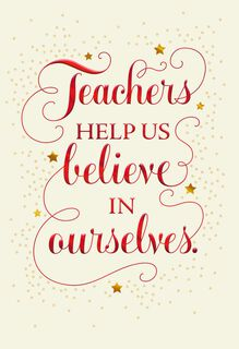 Christmas cards holiday cards holiday party invitations hallmark believe in yourself christmas card for teacher m4hsunfo Image collections