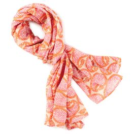 Pink and Orange Paisley Scarf, , large