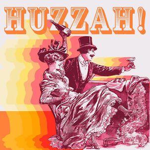 Vintage Couple Huzzah Birthday Card