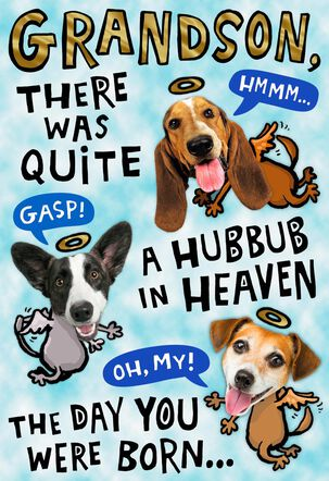 Hubbub in Heaven Pop Up Birthday Card for Grandson