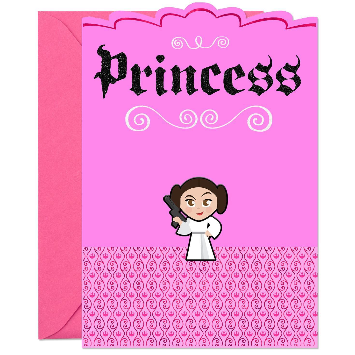 Star Wars Princess Leia Awesome Girl Birthday Card Greeting Jpg 1024x1024 Invitation Pink Lightsaber