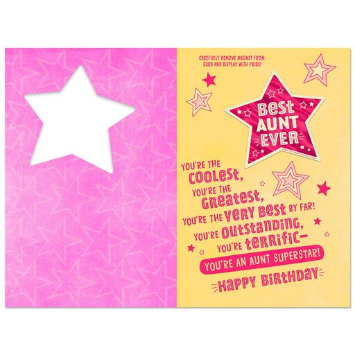 Coolest Greatest Very Best Aunt Birthday Card With Magnet