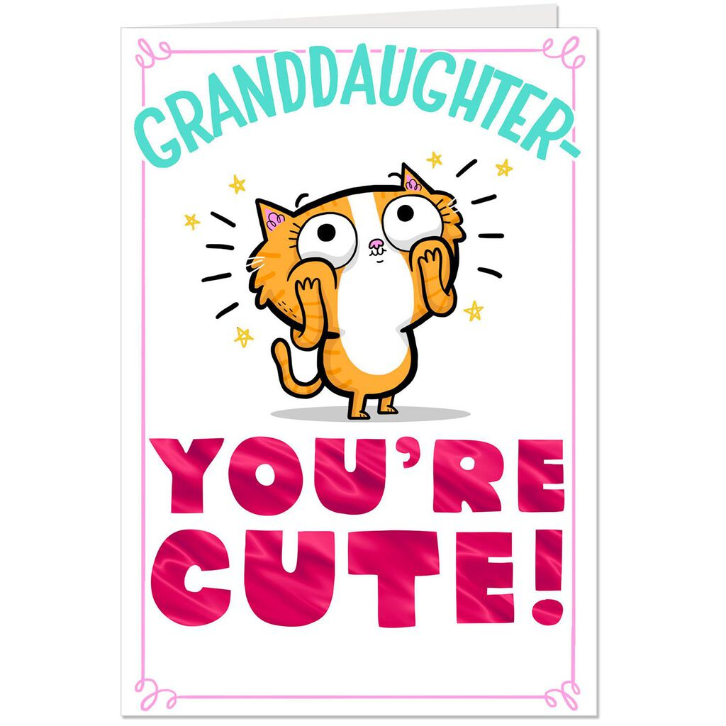Cute Cartoon Cat Funny Birthday Card For Granddaughter