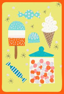 Sweet Treats With Glitter Blank Birthday Card,