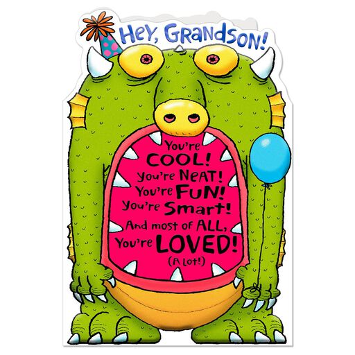 Monstrously Fun Birthday Card For Grandson