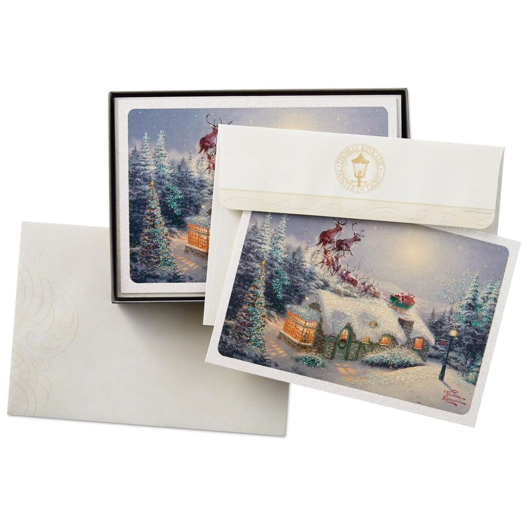 Thomas Kinkade Santa and Sleigh Christmas Cards, Box of 16 - Boxed ...