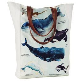 Cedar Cove Coastal Whales Canvas Tote, , large