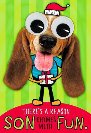 Googly Eyes Dog Christmas Card for Son