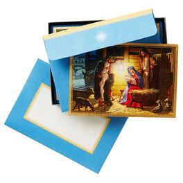 Shepherds Visiting the Manger Religious Christmas Cards, Box of 16, , large