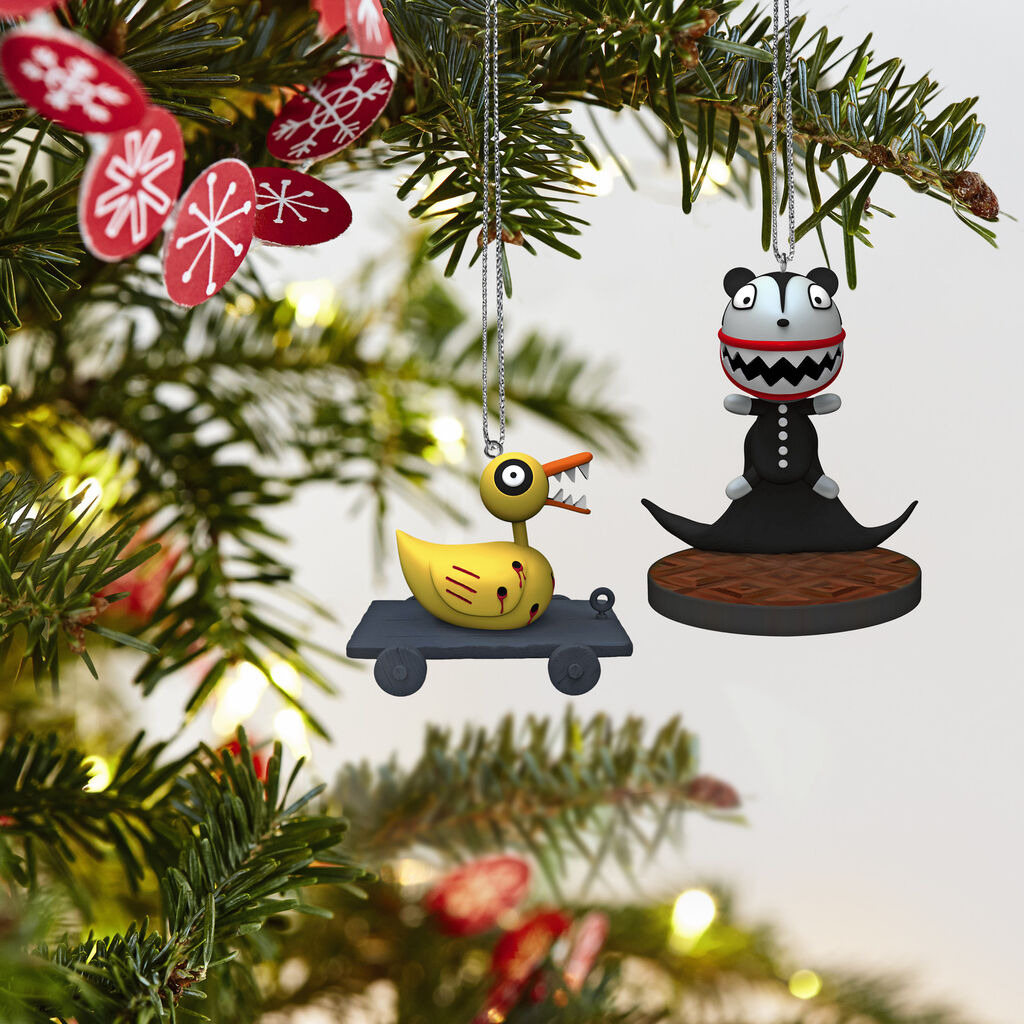 Tim Burton S The Nightmare Before Christmas Scary Teddy And Undead Duck Ornaments Set Of 2