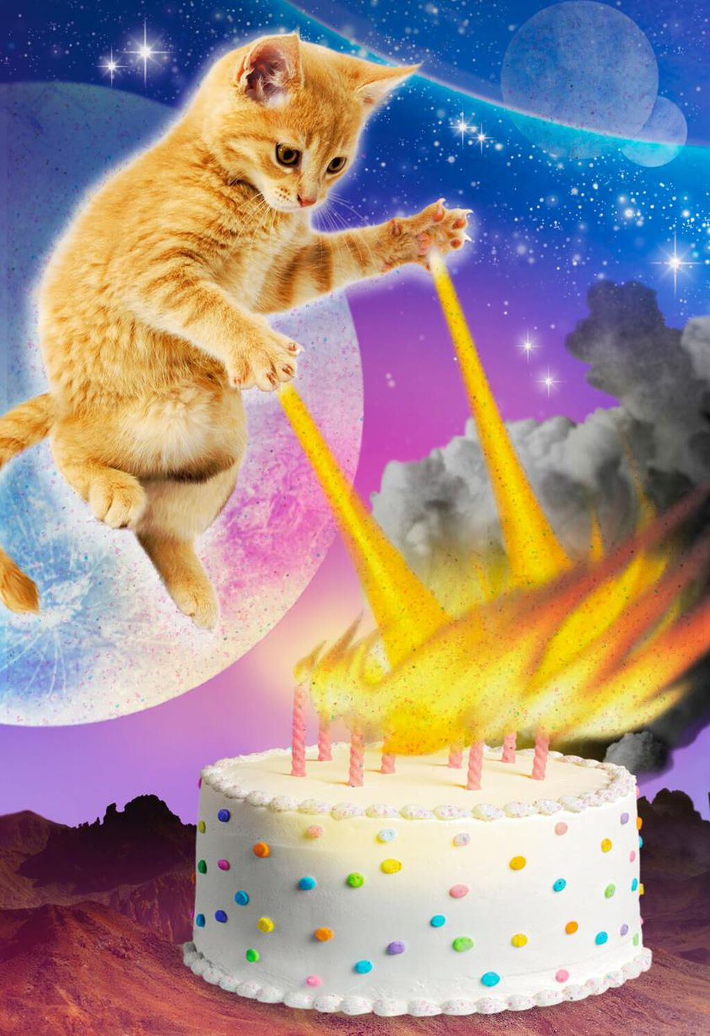 Cakes On Fire Funny Birthday Card