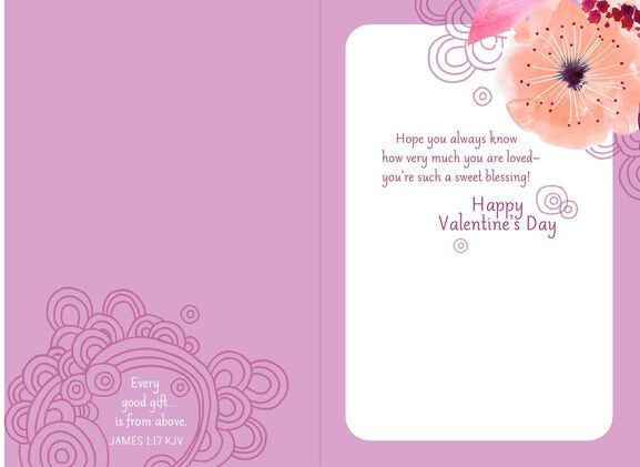 Pink Flowers Valentines Day Card for Granddaughter Greeting – Granddaughter Valentine Card