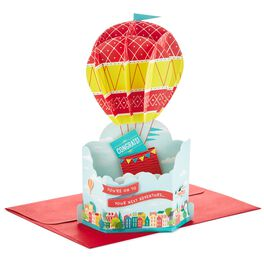 Hot Air Balloon Pop Up Congratulations Card, , large