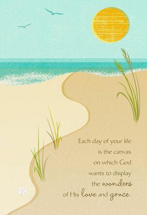 Beach Blessings Speechless Religious Birthday Card