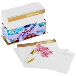 Watercolor Flowers Thank You and Note Cards in Caddy, Box of 50 , , large