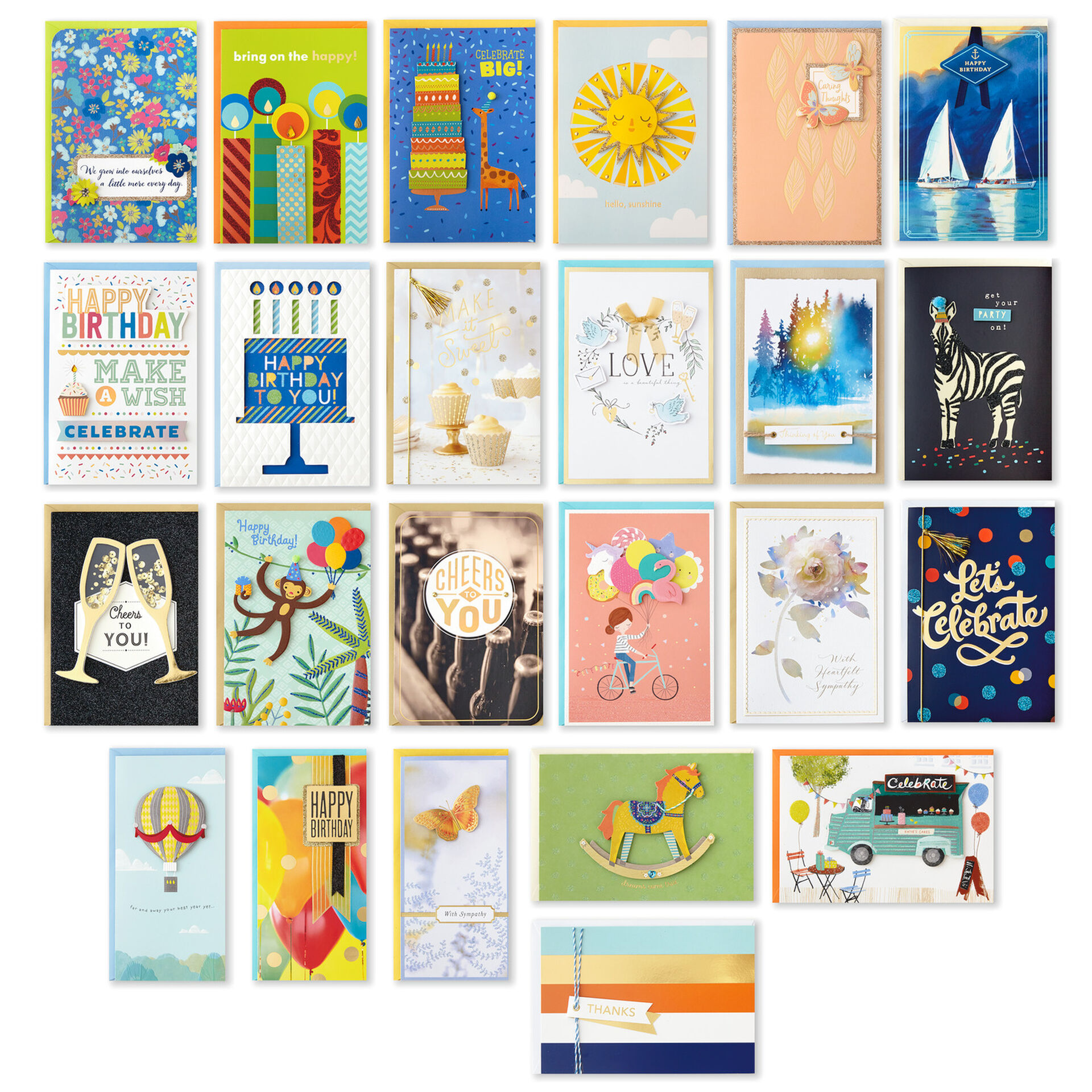 Hallmark Boxed Christmas Cards 16 Cards and 17 Envelopes Colorful Ornaments