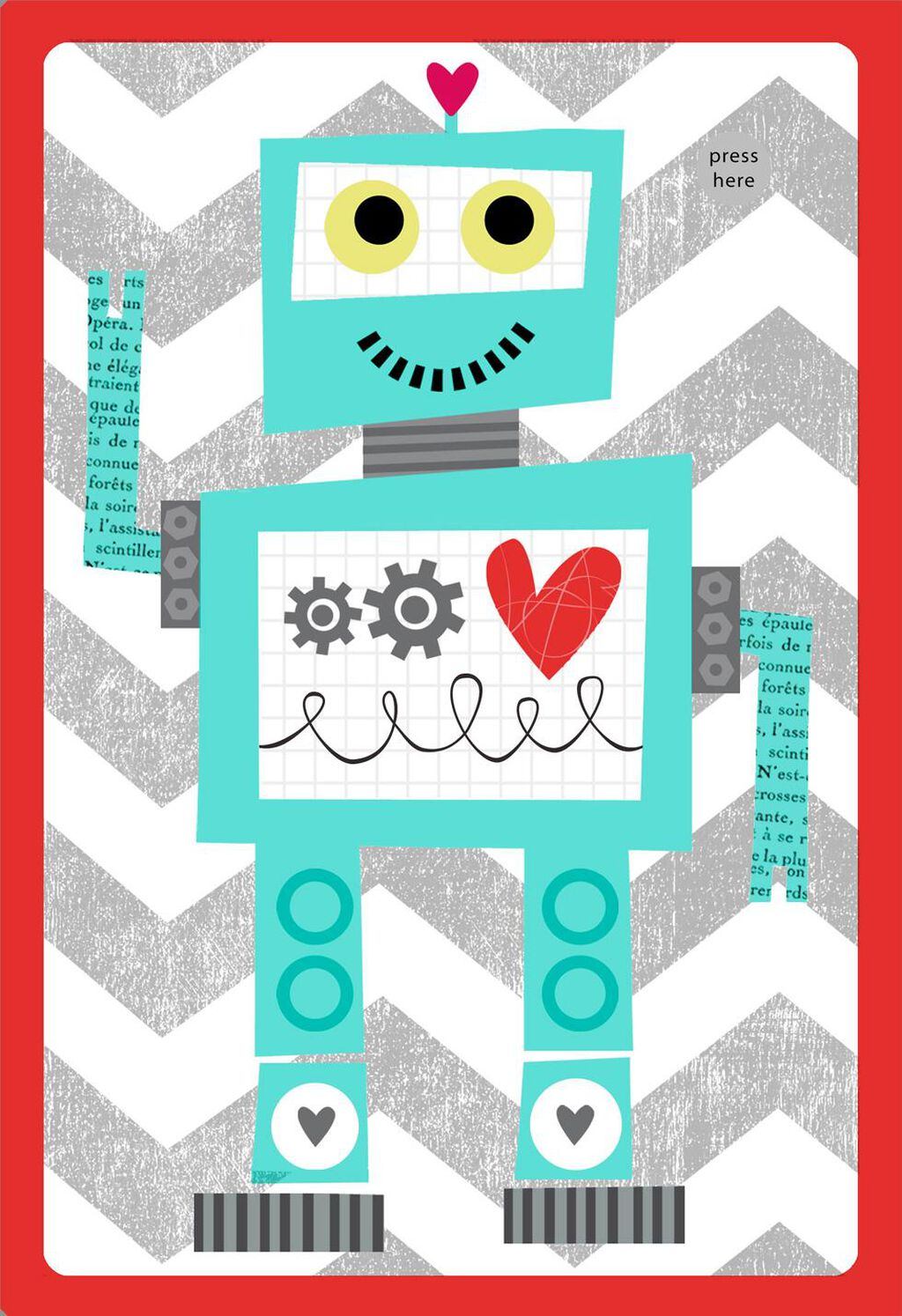 Robot Valentines Day Card For Kids With Sound Greeting Cards