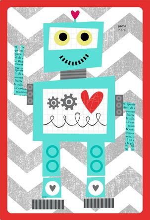 Robot Valentine's Day Card for Kids With Sound