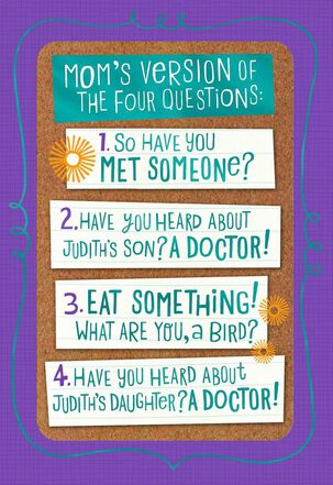 Mom's Questions Funny Passover Card