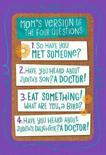 Mom's Questions Funny Passover Card,