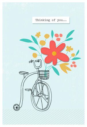 Bike Basket Bouquet Thinking of You Card