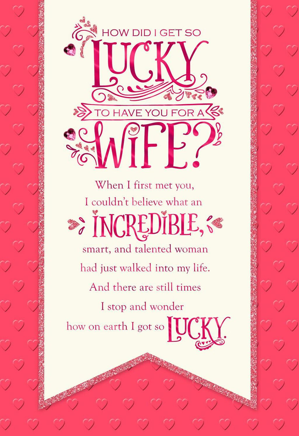 Lucky To Have You Banner Valentines Day Card For Wife Greeting