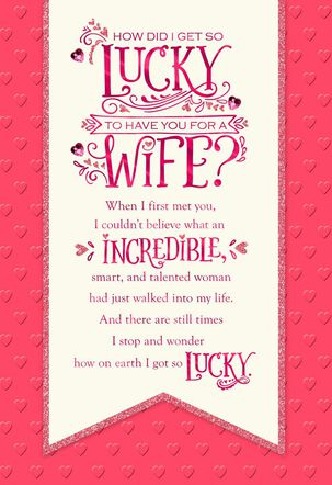 Lucky to Have You Banner Valentine's Day Card for Wife