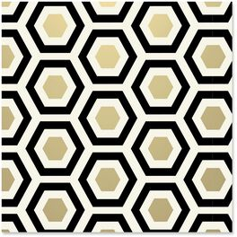 Black and Gold Hexagons Wrapping Paper Roll, 27 sq. ft., , large