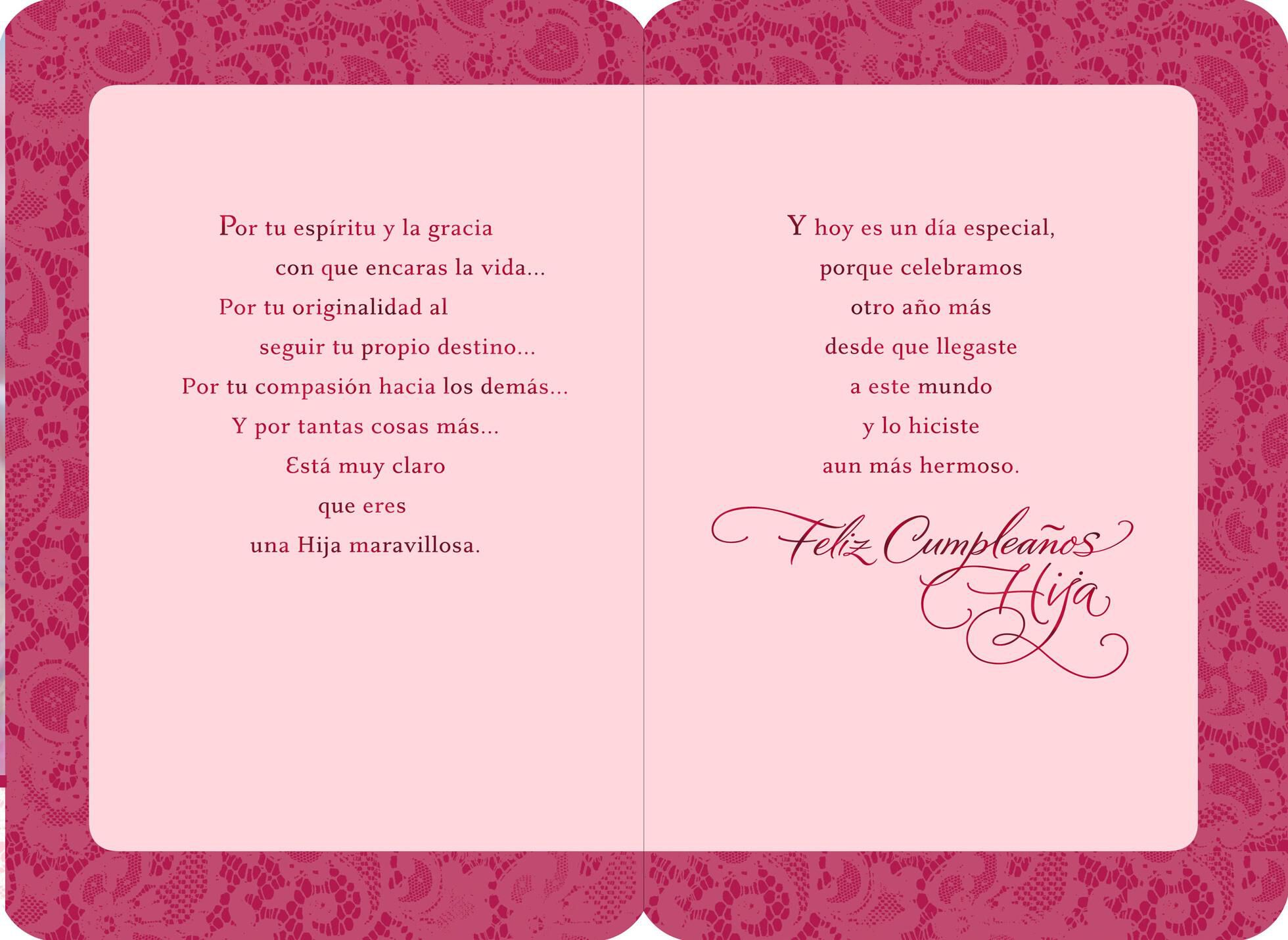 Pink Cupcake SpanishLanguage Daughter Birthday Card Greeting