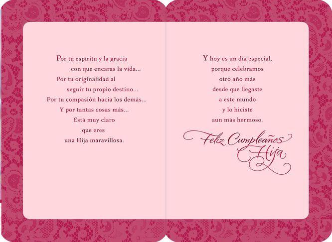 Pink Cupcake SpanishLanguage Daughter Birthday Card Greeting – Daughter Birthday Cards