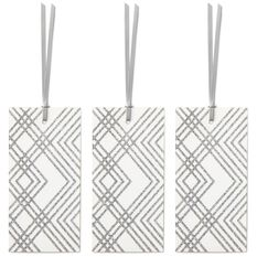 Silver Patterns on White 3-Pack Gift Tags With Ribbons