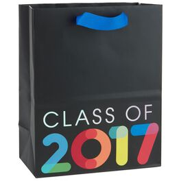 "Multicolor Class of 2017 on Black Medium Gift Bag, 9.5"", , large"
