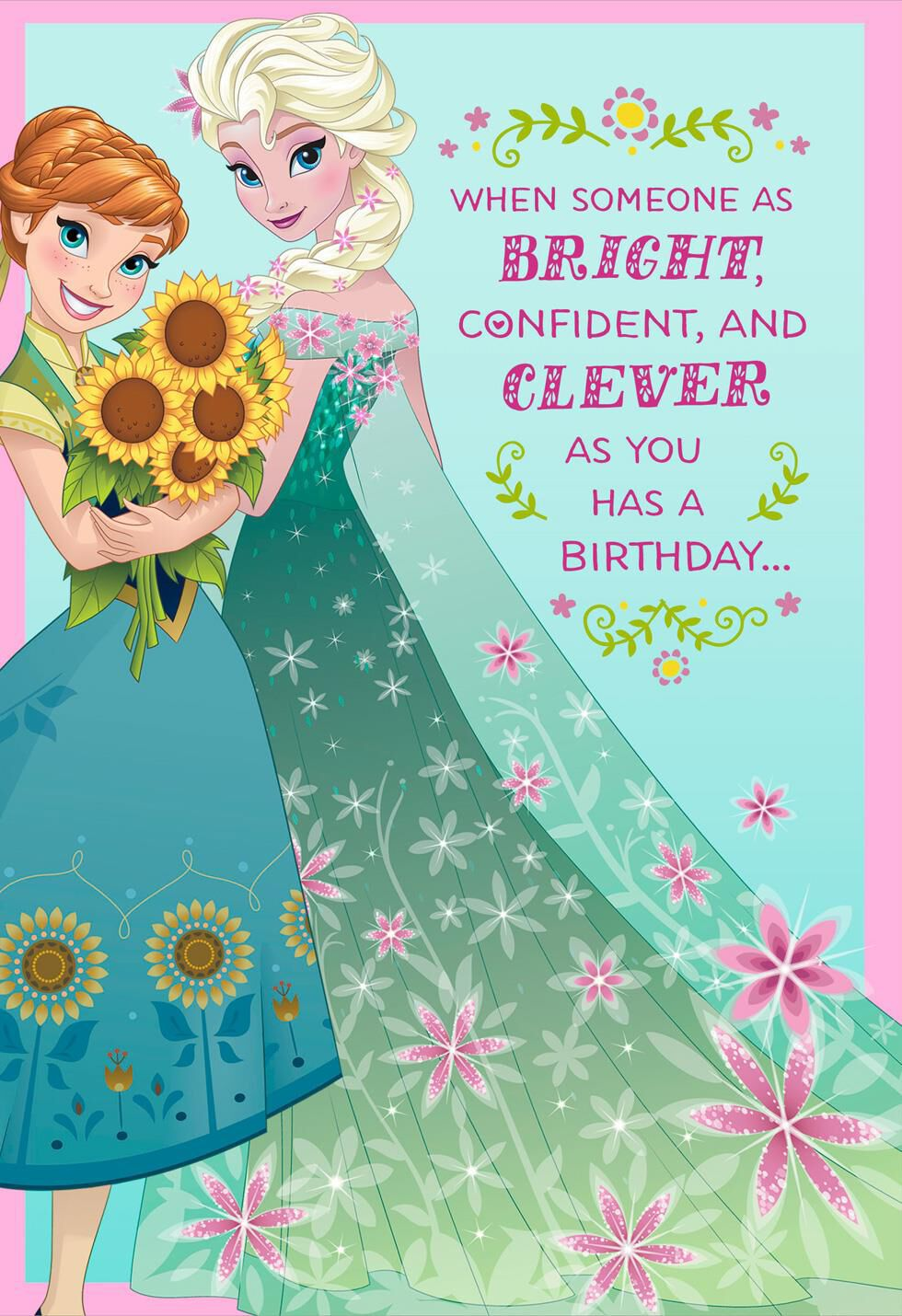 Disney Frozen Best Day Ever Musical Birthday Card Greeting Cards