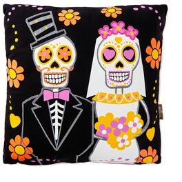 "Sugar Skull Bride and Groom Decorative Pillow, 14"", , large"