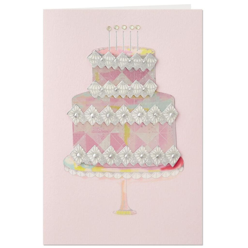 Bling Birthday Cake French Language Birthday Card Greeting Cards