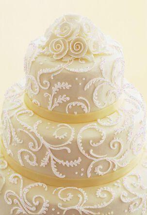 Elegant Cake With Swirls and Roses Blank Wedding Card