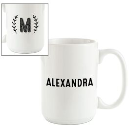 Single Monogram Branches Personalized Mug, , large