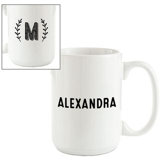 Single Monogram Branches Personalized Mug,