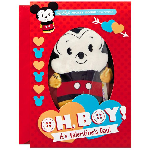 itty bittys mickey mouse valentines day card with stuffed animal - Mickey Mouse Valentines