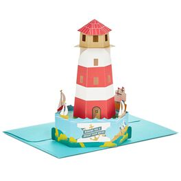Bright Wishes Lighthouse Pop Up Birthday Card, , large