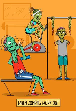 Zombie Workout Halloween Card